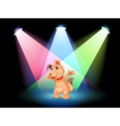 A dog with a red collar at the center of the stage vector