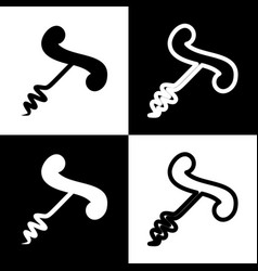 Corkscrew sign   black and vector