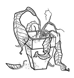 Cartoon image of dead houseplant vector