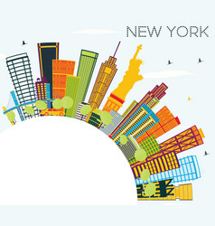 New york skyline with color buildings blue sky vector