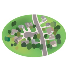 Part of village - street with houses - airview vector