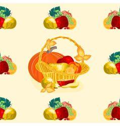 Seamless texture fruit basket vector