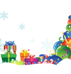 Bright gifts on snow vector