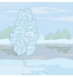 Winter landscape tree on the shore vector