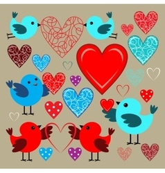 Stickers with birds and hearts vector