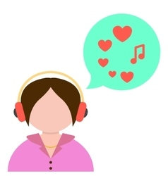 Girl listening to music with green speech bubble vector