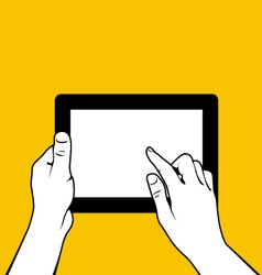 Hands with tablet pc - finger touchs screnn vector