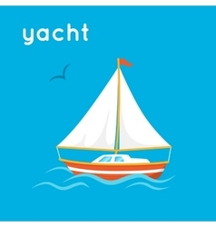 Sailing yacht on blue backdrop vector