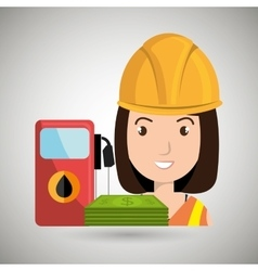 Woman and oil isolated icon design vector