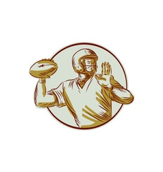 American football qb throwing circle side etching vector