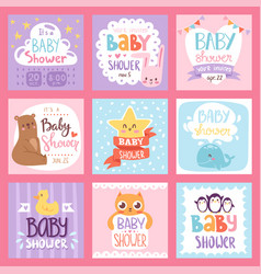 Baby shower invitation set card print vector