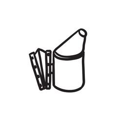 Bee hive smoker sketch icon vector