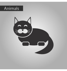 Black and white style icon pet cat vector