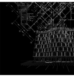 Black architectural background with building vector image vector image