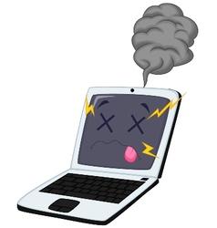 Broken laptop cartoon vector image