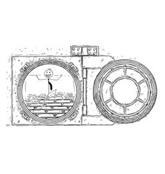 Cartoon drawing of open vault door with gold bars vector