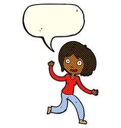 Cartoon happy waving girl with speech bubble vector