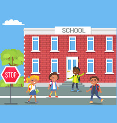 children in front of school cartoon vector image
