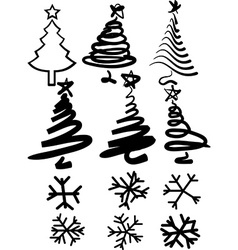 Christmas-trees and snowflakes vector