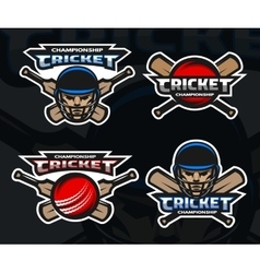 Cricket sports logos on a dark background vector image