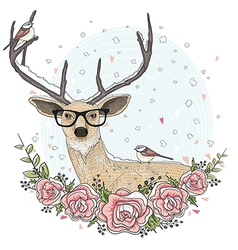 Cute hipster deer with glasses flowers vector