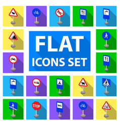 Different types of road signs flat icons in set vector