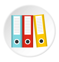 Documentation in folders icon circle vector