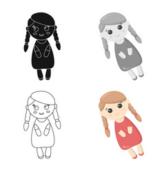 Doll cartoon icon for web and mobile vector