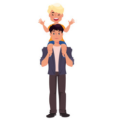 Father and son playing happy fathers day greeting vector
