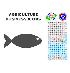 fish icon with agriculture set vector image