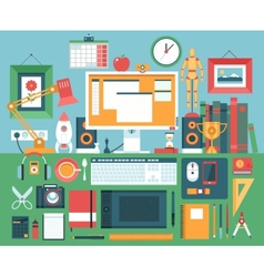 Flat modern design concept of creative office vector image vector image