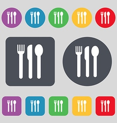 fork knife spoon icon sign A set of 12 colored vector image vector image