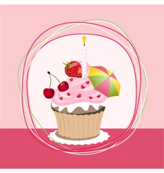 fruit cupcake vector image