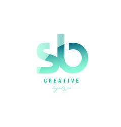 Green gradient pastel modern sb s b alphabet vector