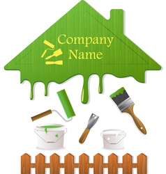 green roof and painting tools vector image