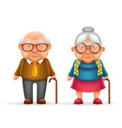 Happy cute old man lady grandfather granny 3d vector