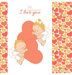 I love you card with two cupids vector image