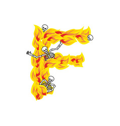 Letter f hellish flames and sinners font fiery vector