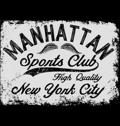 manhattan new york athletic tee graphic vector image vector image