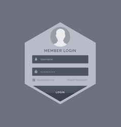 member login form ui template design in hexagonal vector image vector image