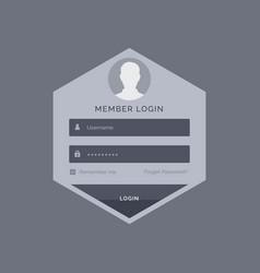 Member login form ui template design in hexagonal vector