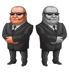 Muscular man in glasses and suit strong bodyguard vector