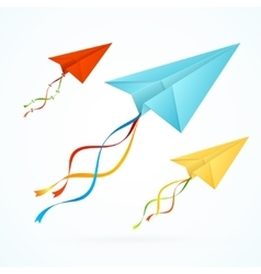 Paper airplain colorful set vector