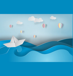 Paper art of boat and balloon with origami made vector
