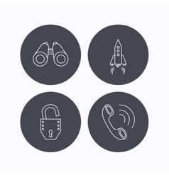 Phone startup rocket and search icons vector image