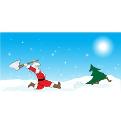 Santa hunting Christmas tree vector image
