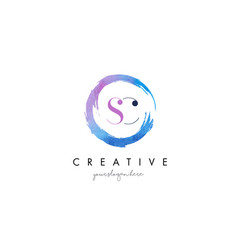 Sc letter logo circular purple splash brush vector