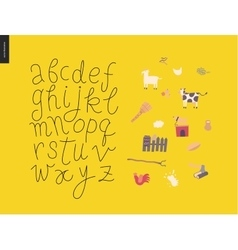 script alphabet 7 vector image vector image