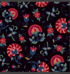 seamless ethnic floral pattern red on black vector image