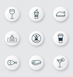 Set of 9 restaurant icons includes wineglass vector